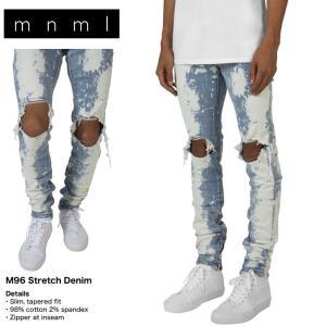 mnml ミニマル M96 STRETCH DENIM クラッシュデニムパンツ ブルー