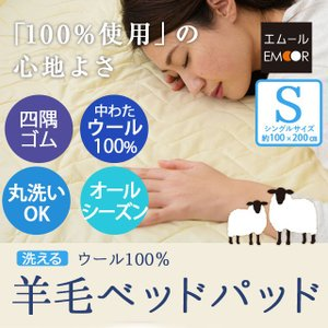 洗える ベッドパッド シングルサイズ 抗菌防臭 丸洗いベッドパッド 100×200cm (敷きパッド 敷パッド  ベッドパッド bed pad|at-emoor