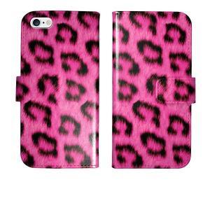 iPhone5s iPhone5 手帳型 ケース カバー ヒョウ柄 ピンク