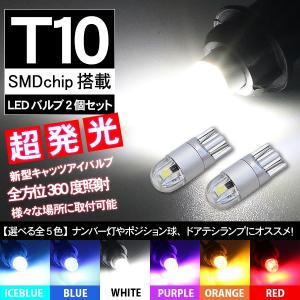 T10 LEDバルブ 透明レンズ キャッツアイ仕様 12V 80LM 2個セット 全6色 ポジション...