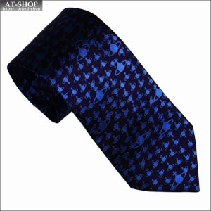 Vivienne Westwood ヴィヴィアン・ウェストウッド ネクタイ 8.5cm オーブ柄 10615-K202-BARK-BLUE|at-shop