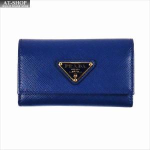 PRADA プラダ キーケース ブルー/ゴールド 1PG222 F0016 BLUETTE QHH SAFFIANO TRIANGOLO|at-shop