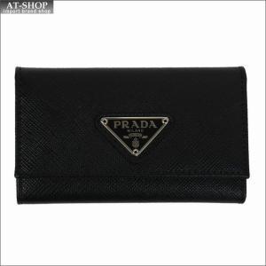 PRADA プラダ キーケース ブラック/シルバー 1PG222 F0632 NERO ACCIAIO QHH SAFFIANO TRIANGOLO|at-shop
