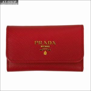 PRADA プラダ キーケース レッド 1PG222 F068Z FUOCO QWA SAFFIANO METAL ORO at-shop