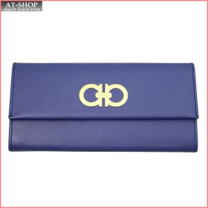 FERRAGAMO フェラガモ 財布サイフ 二つ折り長財布 22-7121-599793 NEWIRIS ブルー|at-shop