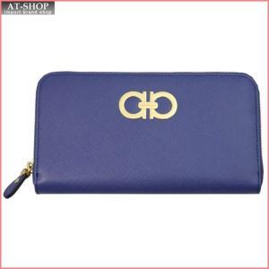 FERRAGAMO フェラガモ 財布サイフ ラウンドファスナー長財布 22-B300-599815 NEWIRIS ブルー|at-shop