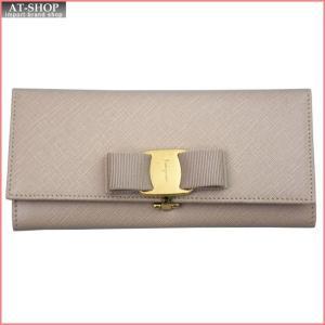 FERRAGAMO フェラガモ 財布サイフ 二つ折り長財布 22-B559-548922 NEWBISQUE ベージュ|at-shop