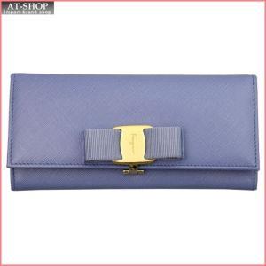 FERRAGAMO フェラガモ 財布サイフ 二つ折り長財布 22-B559-600241 FLEURBLEUE ライトブルー|at-shop