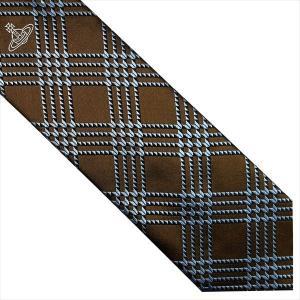Vivienne Westwood ヴィヴィアン・ウェストウッド ネクタイ 8.5cm ブラウン×ブルーネイビー系 24T85-P38color1 at-shop 02