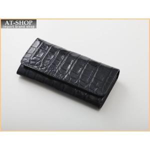 Della デラ 財布サイフ GIOIA クロコ型押し 二つ折り長財布 4001-CROCO-BK ブラック|at-shop