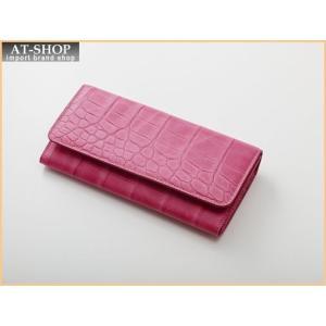 Della デラ 財布サイフ GIOIA クロコ型押し 二つ折り長財布 4001-CROCO-PK ピンク|at-shop