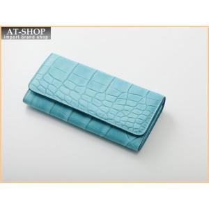 Della デラ 財布サイフ GIOIA クロコ型押し 二つ折り長財布 4001-CROCO-SKY スカイブルー|at-shop