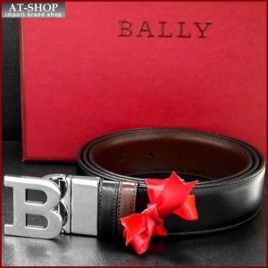 BALLY バリー ベルト BLACK CALF PLAIN 6193208 ブラック(ツヤ有)×ダークブラウン(ツヤ有)|at-shop