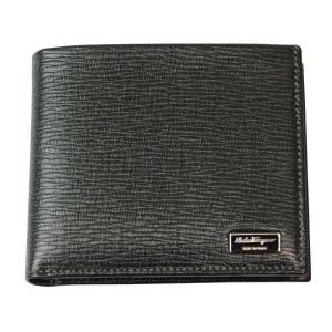 Ferragamo フェラガモ 財布サイフ 型押しカーフ メンズ 二つ折り財布 66-7070 ブラック|at-shop