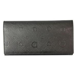 フェラガモ Ferragamo 財布サイフ 型押しカーフ 二つ折り長財布 66-9303 NERO ブラック|at-shop