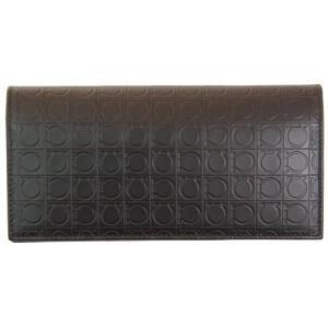 FERRAGAMO サルヴァトーレ フェラガモ 財布サイフ 二つ折り長財布 66-9413 536916 ブラウン|at-shop