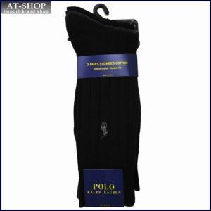 POLO RALPH LAUREN ポロ・ラルフローレン ソックス 3足セット8092PK-color019 ブラック×グレー×ネイビー at-shop