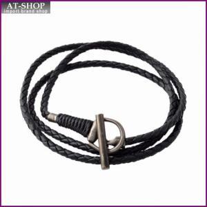 グッチ GUCCI 338798-J8980-8131 19cm  HORSEBIT ホースビット トグル 編み込みレザー ラップ 3連 ブレスレット|at-shop