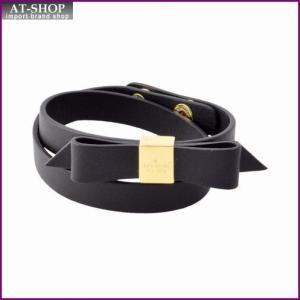 ケイトスペード Kate Spade WBRUD210-001 Black WRAP THINGS UP leather bow wrap bracelet リボンモチーフ ダブルラップ 2連 ブレスレット at-shop