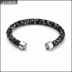 スワロフスキー SWAROVSKI 5255902 Crystaldust Dark クリスタルロック カフ バングル ブレスレット Sサイズ at-shop