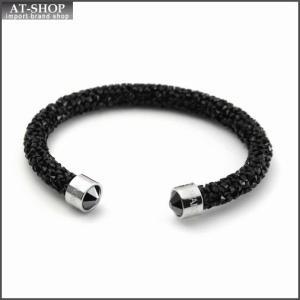 スワロフスキー SWAROVSKI 5255906 Crystaldust Black クリスタルロック カフ バングル ブレスレット Sサイズ at-shop