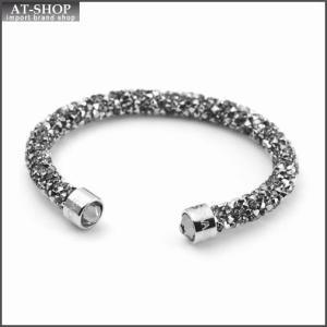 スワロフスキー SWAROVSKI 5255912 Crystaldust Gray クリスタルロック カフ バングル ブレスレット Sサイズ at-shop