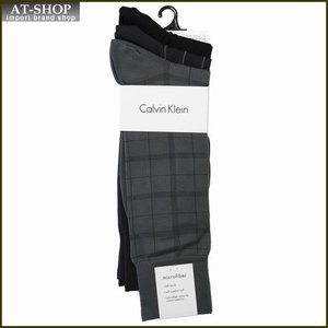 Calvin Klein カルバン・クライン ソックス 3足セット ACP174-color98 ライトグレー:グレー:ブラック系 at-shop