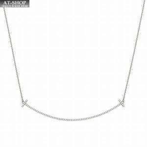 ティファニー TIFFANY&CO 34946051 Tiffany T スマイル ペンダント ネックレス 18KWG×ダイアモンド 41cm〜46cm|at-shop