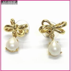 ケイトスペード ピアス  WBRU9479-142 TIED UP drop Earrings リボンモチーフ×パール ドロップ ピアス|at-shop