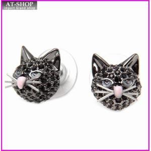 ケイトスペード WBRUA450-008 OUT OF THE BAG studs 猫モチーフ ブルーアイズ キャット ブラックパヴェ・クリスタル ピアス|at-shop