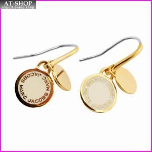マークジェイコブス MARC JACOBS M0008541-106 Cream Enamel Logo Disc Earrings ロゴ ディスク エナメル ピアス|at-shop