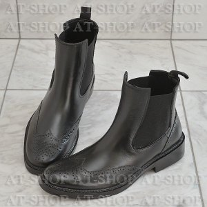 ウィングチップ サイドゴア レインブーツ メンズ 雨靴 レインシューズ ATTM-002 ブラック サイズ:L|at-shop