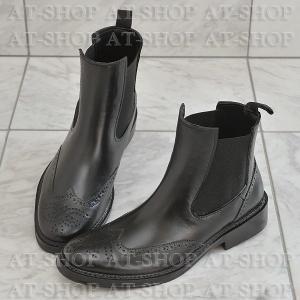 ウィングチップ サイドゴア レインブーツ メンズ 雨靴 レインシューズ ATTM-002 ブラック サイズ:M|at-shop