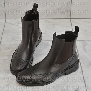 ウィングチップ サイドゴア レインブーツ メンズ 雨靴 レインシューズ ATTM-002 ブラウン サイズ:M|at-shop