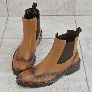ウィングチップ サイドゴア レインブーツ メンズ 雨靴 レインシューズ ATTM-002 キャメル サイズ:S|at-shop