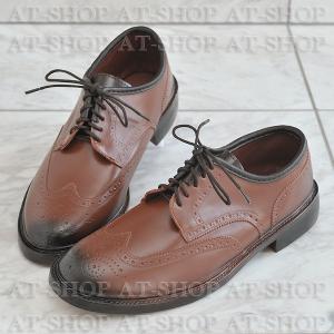 ウィングチップ レインシューズ メンズ 雨靴  ATTM-003 キャメル サイズ:L|at-shop