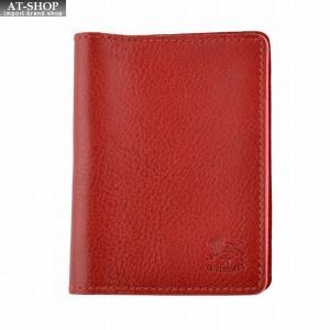 イルビゾンテ IL BISONTE C0469/M 245 Red カードケース パスケース 定期入れ|at-shop