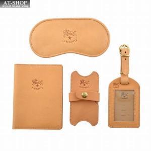 イルビゾンテ IL BISONTE K0287 120 Natural トラベル 4点セット パスポートケース イヤホンホルダー ラゲージタグ アイマスク at-shop