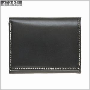 ブリティッシュグリーンBRITISH GREEN 財布サイフ ブライドルレザー メンズ 胸ポケット三つ折り財布 73123 ブラック|at-shop