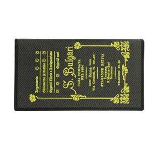 ブルガリ BVLGARI コレッツォーネ ロゴプリント 小銭入れ付 二つ折り長財布 ブラック/イエロー 32446 CANVAS/BLK|at-shop