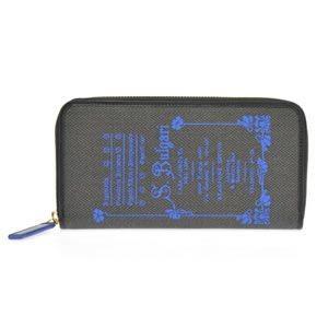 ブルガリ BVLGARI コレッツォーネ ロゴプリント ラウンドファスナー長財布 ブラック/ブルー 32448 CANVAS/BLK|at-shop