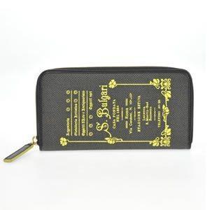 ブルガリ BVLGARI コレッツォーネ ロゴプリント ラウンドファスナー長財布 ブラック/イエロー 32450 CANVAS/BLK|at-shop