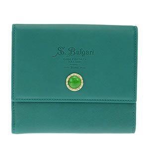 ブルガリ BVLGARI ロゴ型押し Wホック 二つ折り財布 カーフレザー エメラルドグリーン 34611 CALF/GRN|at-shop