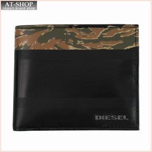 DIESEL ディーゼル 財布サイフ IRON3 HIRESH S 二つ折り財布 X04151 T6084 ブラック×迷彩|at-shop