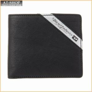 ディーゼル DIESEL 財布サイフ X03611 P1221 H6168 二つ折り財布 Black/Dark Acciaio at-shop