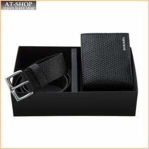 ディーゼル DIESEL 財布サイフ X04441 PR400 T8013ベルト&二つ折り財布セット Black|at-shop