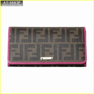 FENDI フェンディ 財布サイフ 二つ折り長財布 8M0298 GRP F0A73 ブラウン/ピンク|at-shop