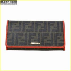 FENDI フェンディ 財布サイフ 二つ折り長財布 8M0298 GRP F0H6F ブラウン/レッド|at-shop