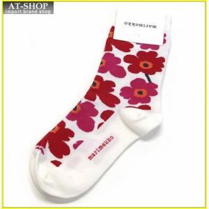マリメッコ HIETA UNIKKO 039859 013 white/red ウニッコ柄 ソックス 靴下 at-shop