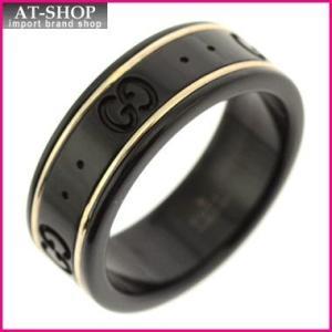 グッチ GUCCI  リング メンズ/レディースアクセサリー 指輪 18Kゴールド ブラック GGロゴ リング 225985-I19A1/8061/09|at-shop
